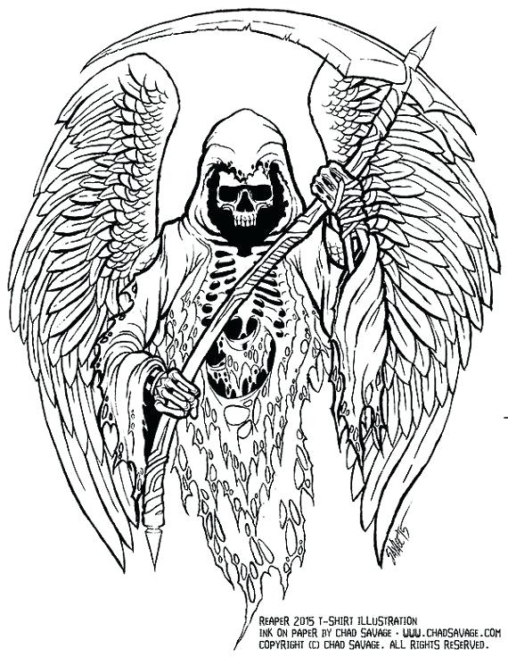 570x736 Grim Reaper Coloring Pages Grim Reaper Original Ink Drawing By