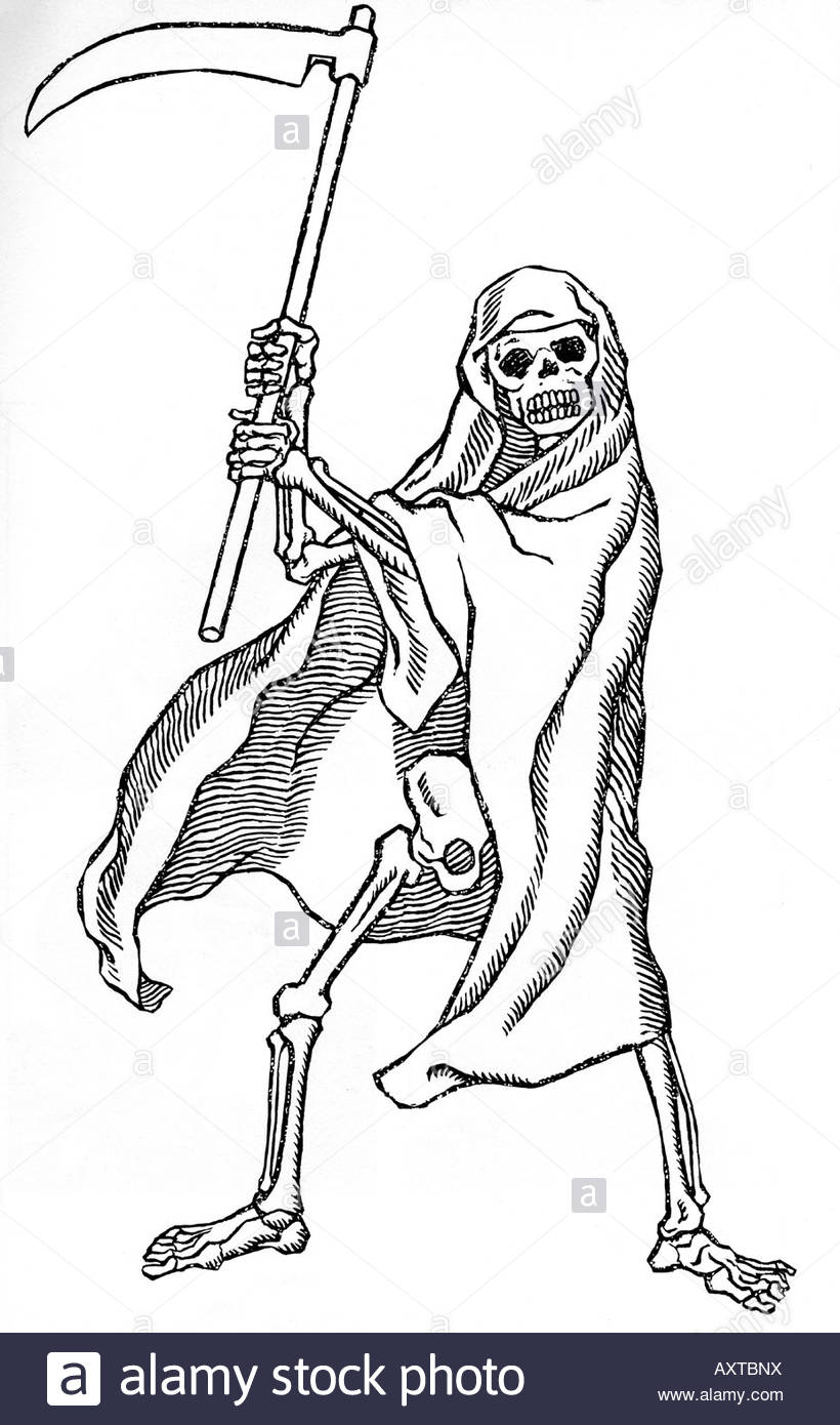 820x1390 Death 16th Century Woodcut Showing Death As The Grim Reaper Stock