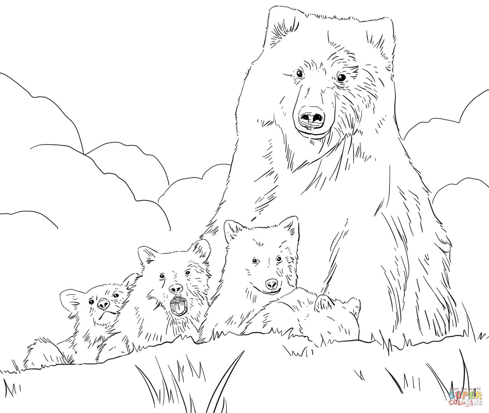 1676x1416 Grizzly Bear Coloring Pages