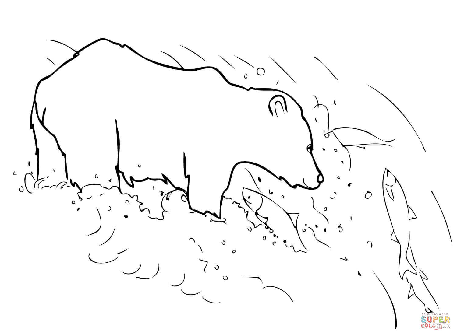 1500x1104 Grizzly Bear Is Fishing Coloring Page Free Printable Coloring Pages