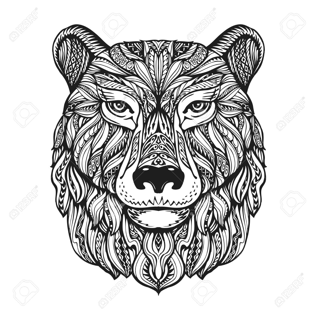 1300x1300 Bear Or Grizzly Head Isolated On White Background. Hand Drawn