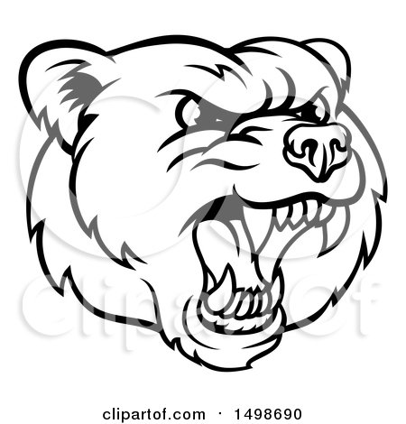 450x470 Clipart Of A Mad Grizzly Bear Mascot Head, Black And White
