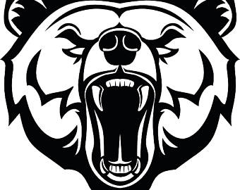 340x270 Grizzly Bear 1 Head Face Animal Growling Mascot Svg Eps