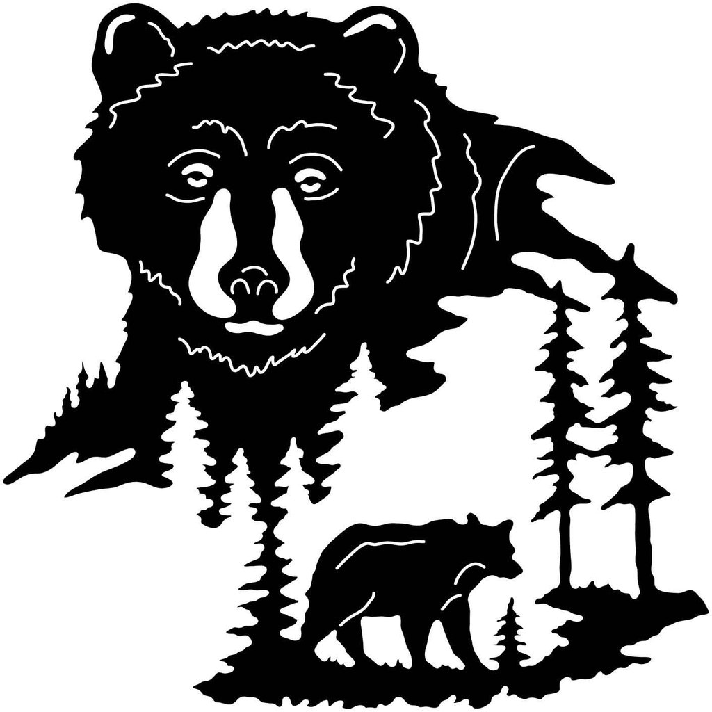1024x1024 Bear Face And Trees Cnc, Filing And Bears