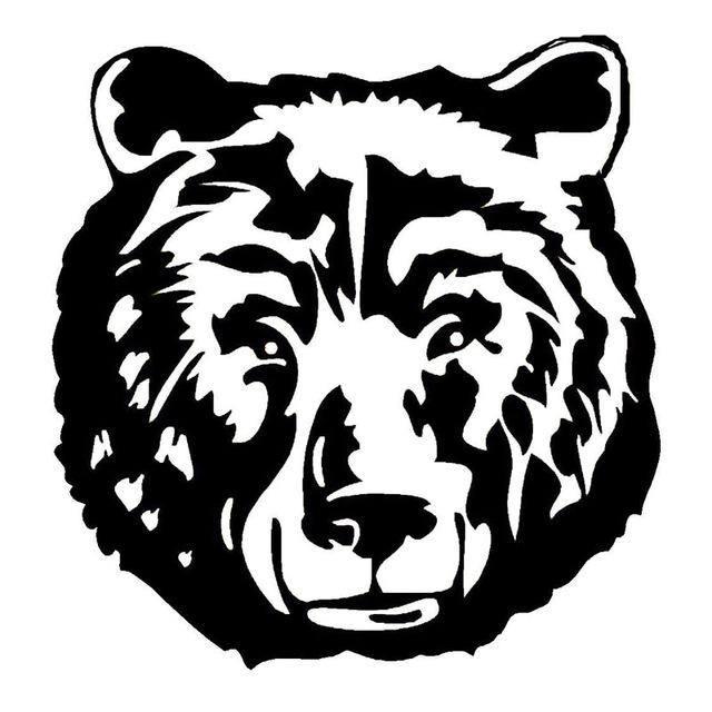 640x640 14.415cm Wild Big Bear Head Car Stickers Creative Car Styling