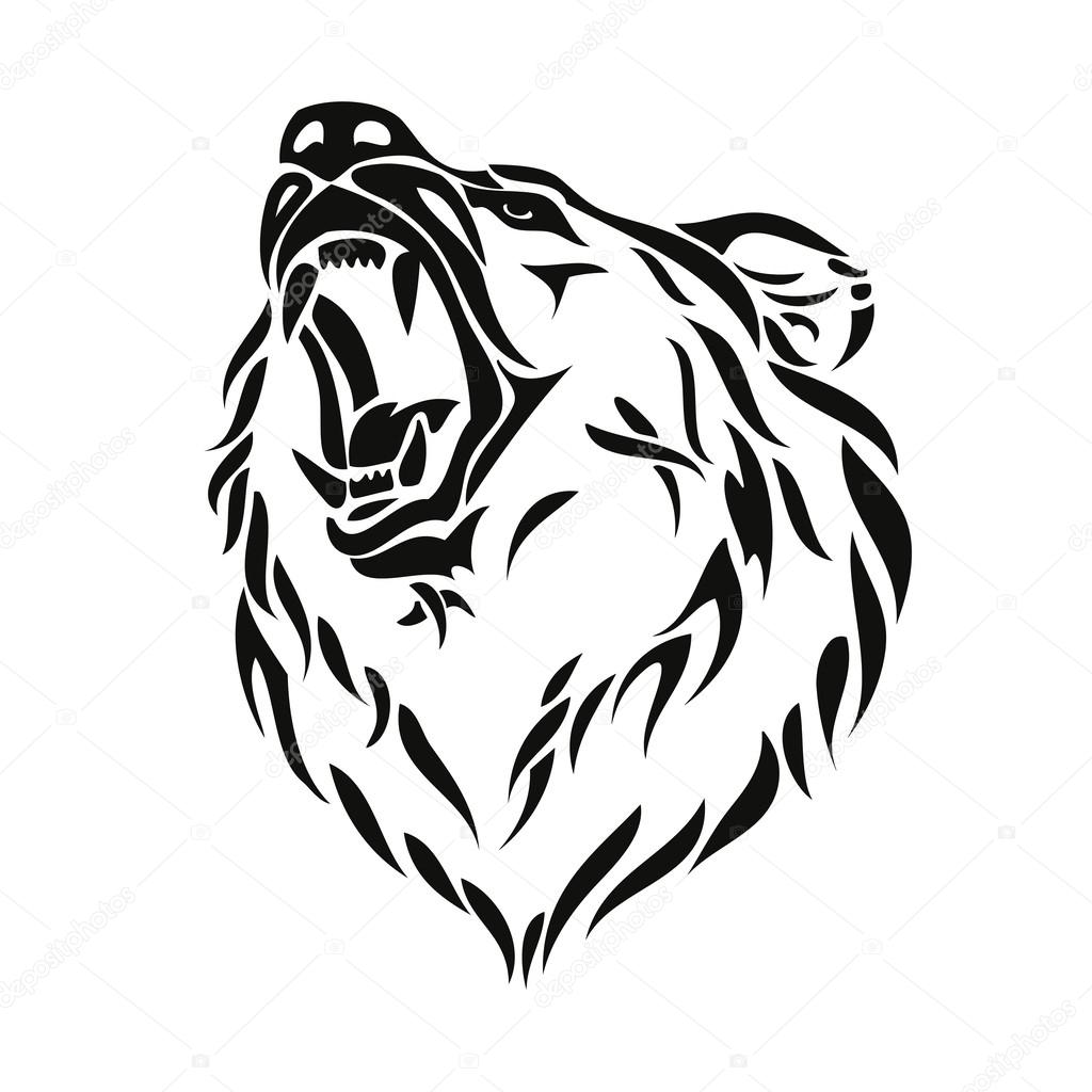 1024x1024 Grizzly Bear Head Stock Vector I.petrovic
