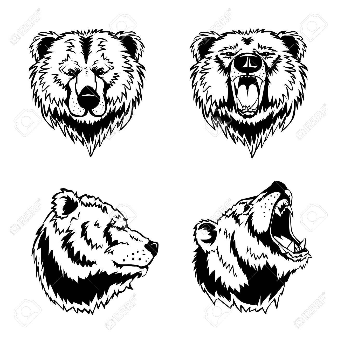 1299x1300 Hand Drawn Ink Engravings Set Of Four Bear Head In Different