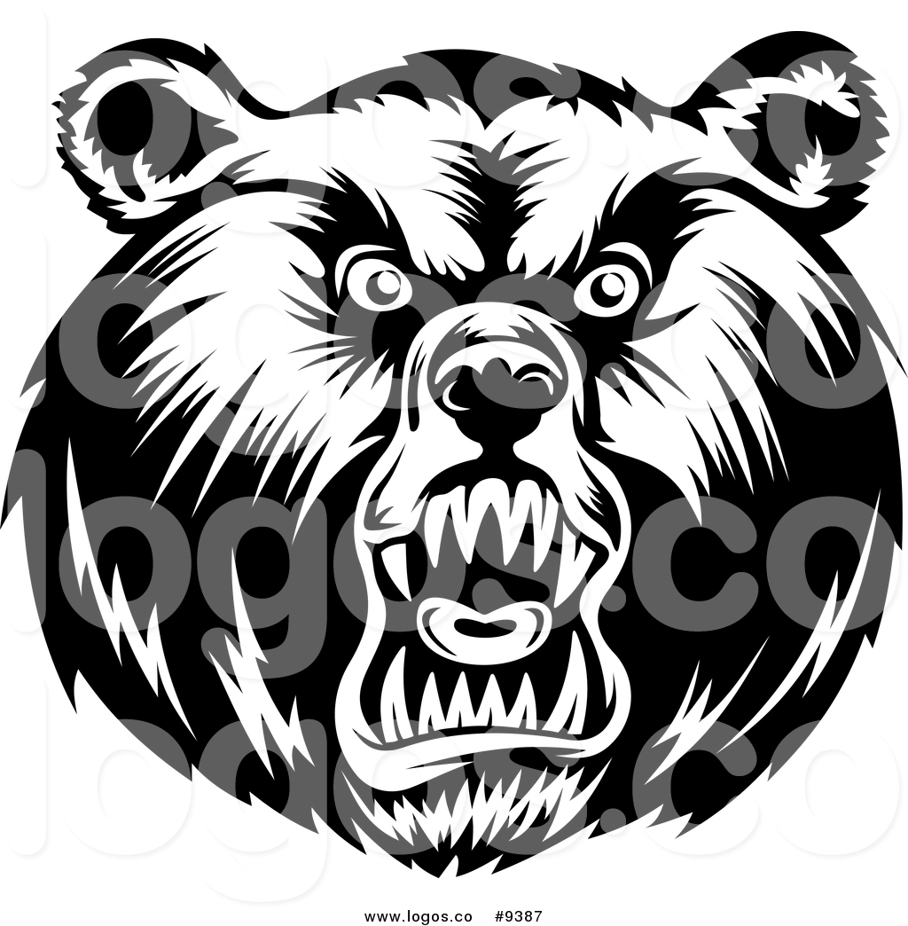 1024x1044 Vector Logo Of A Black And White Grizzly Bear Head By Vector