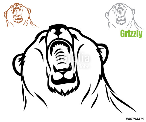 500x417 Vector Illustration Of Grizzly Bear Head Stock Image And Royalty