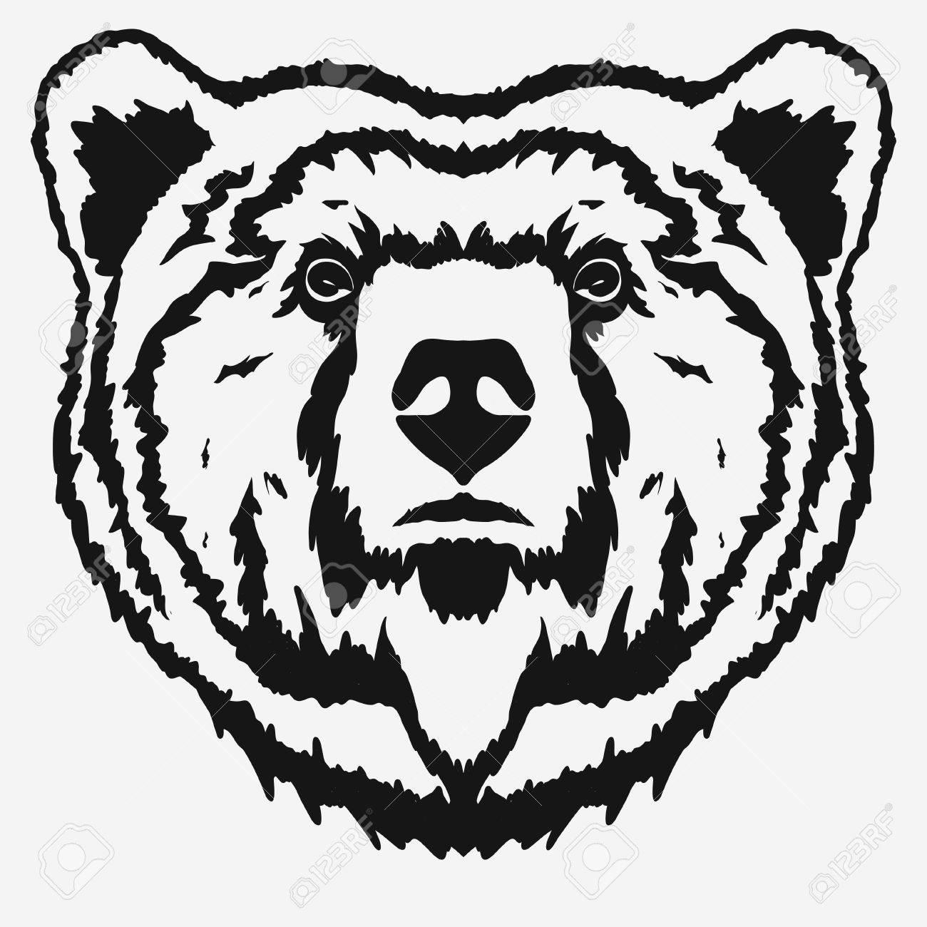 1300x1300 Bear Head Cartoon, Grizzly Mascot Hand Drawn Emblem, Wild Animal