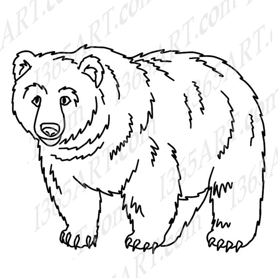 grizzly bear line drawing at getdrawings com free for personal use rh getdrawings com bear clipart black and white silhouette teddy bear clipart black and white