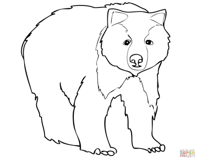 400x322 Grizzly Bear Coloring Pages With Two Cute Cubs Page