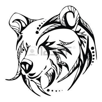 350x350 Grizzly Bear Head Tattoo Vector Bears Head