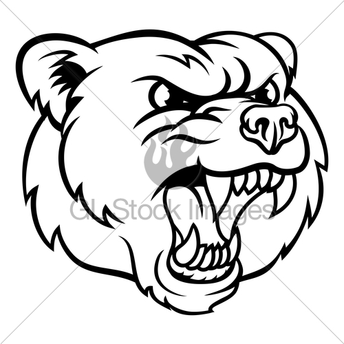 500x500 Angry Grizzly Bear Sports Mascot Face Gl Stock Images