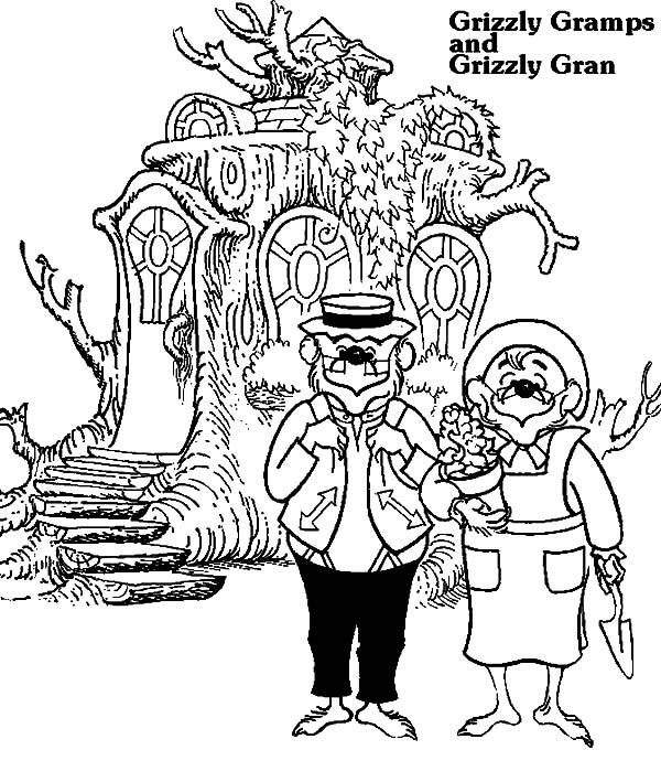 600x709 Grizzly Gramps And Grizzly Gran Berenstain Bear Coloring Pages