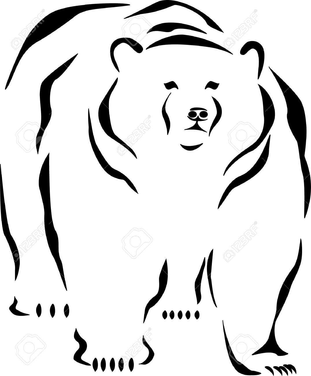1076x1300 Brown Bear Clipart Line Drawing