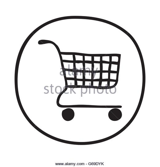 520x540 Doodle Shopping Basket Icon Stock Photos Amp Doodle Shopping Basket