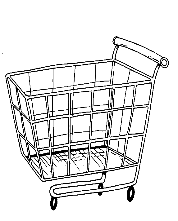 Grocery cart drawing at free for for Grocery shopping coloring pages