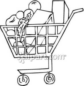 293x300 Grocery Cart Full Of Food Royalty Free Clipart Picture