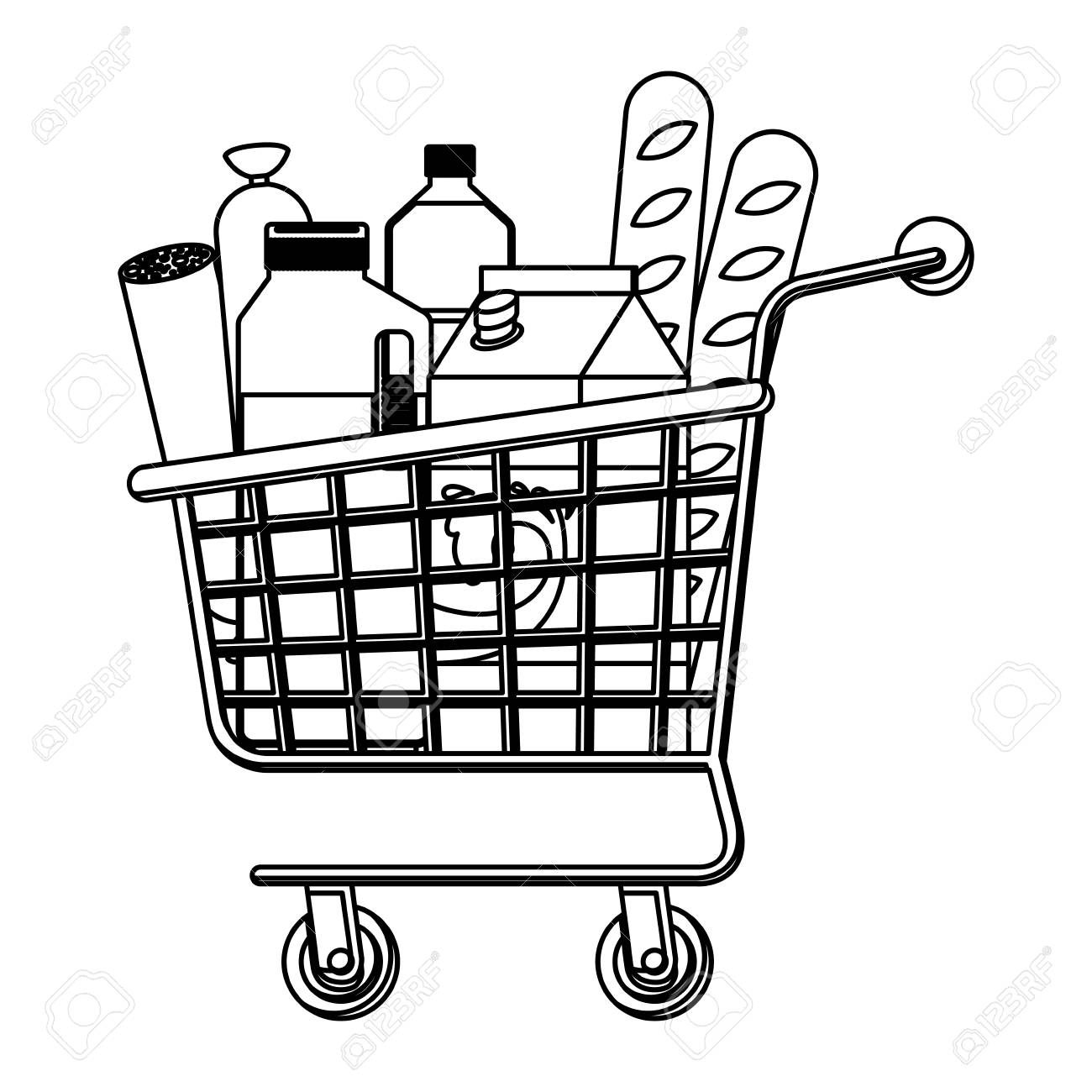 1300x1300 Supermarket Shopping Cart With Foods Sausage Bread And Drinks