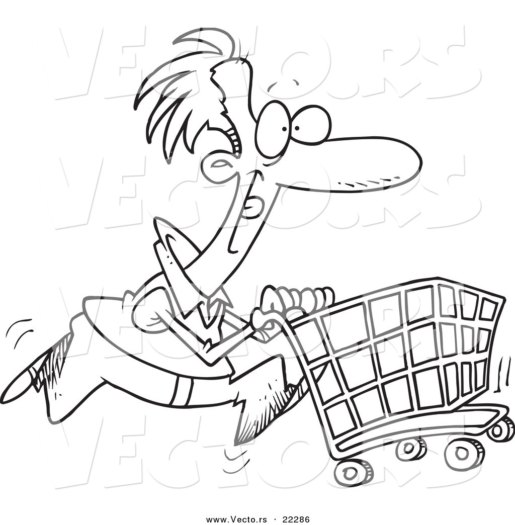 1024x1044 Vector Of A Cartoon Man Pushing A Shopping Cart