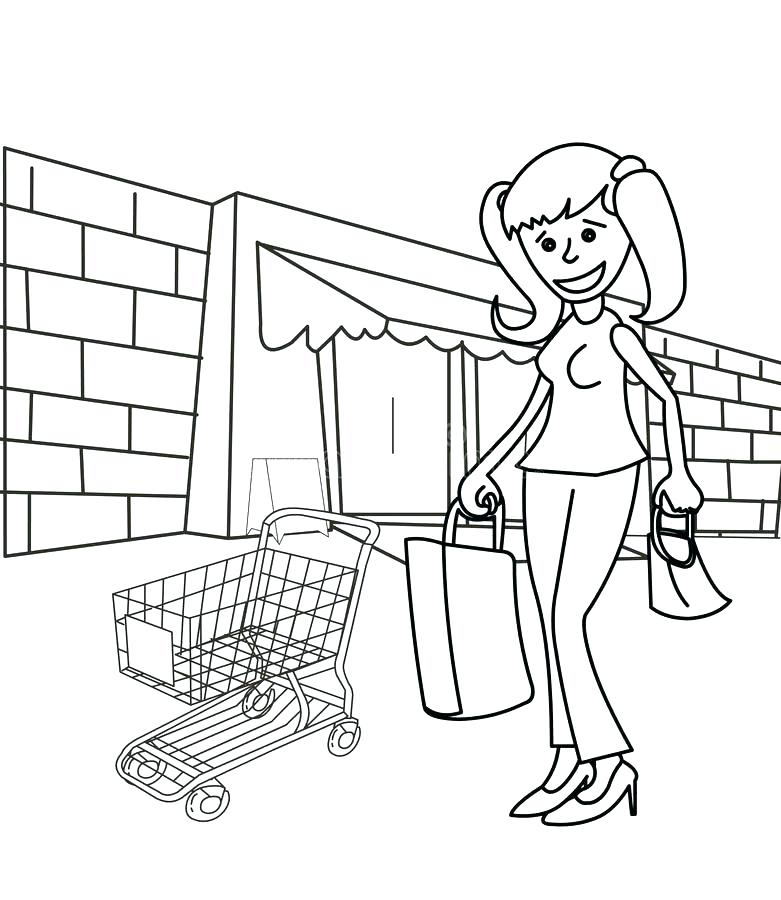 781x900 Shopping Coloring Pages
