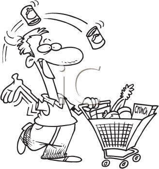 328x350 Grocery Shopping Clipart Black And White
