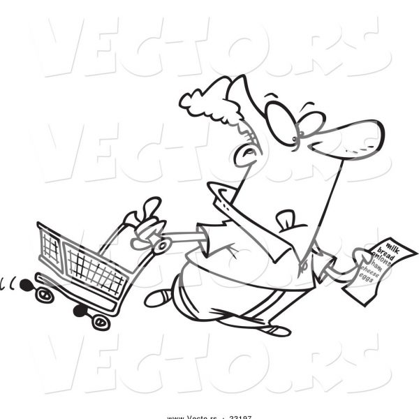 600x600 Vector Of A Cartoon Guy With A Shopping List Coloring Page