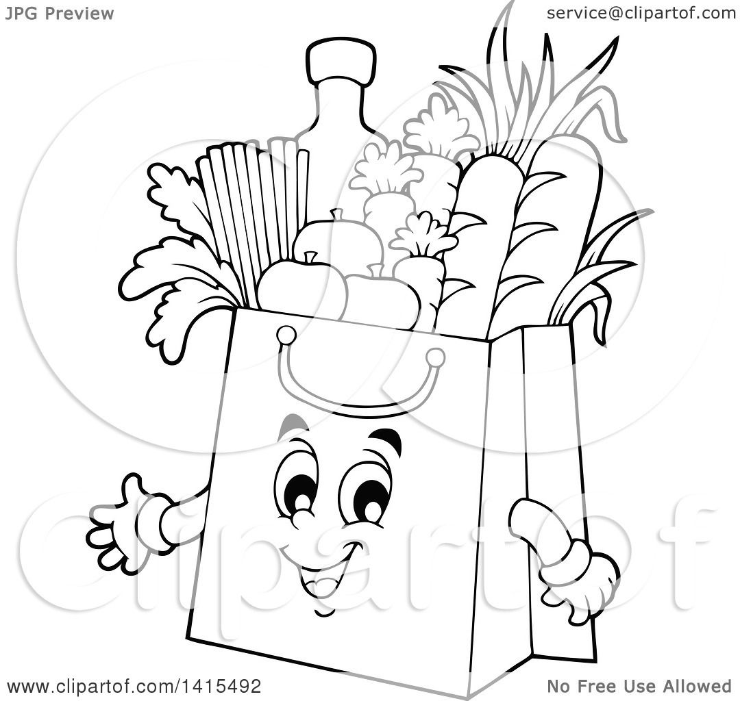1080x1024 Clipart Of A Black And White Lineart Grocery Bag Character