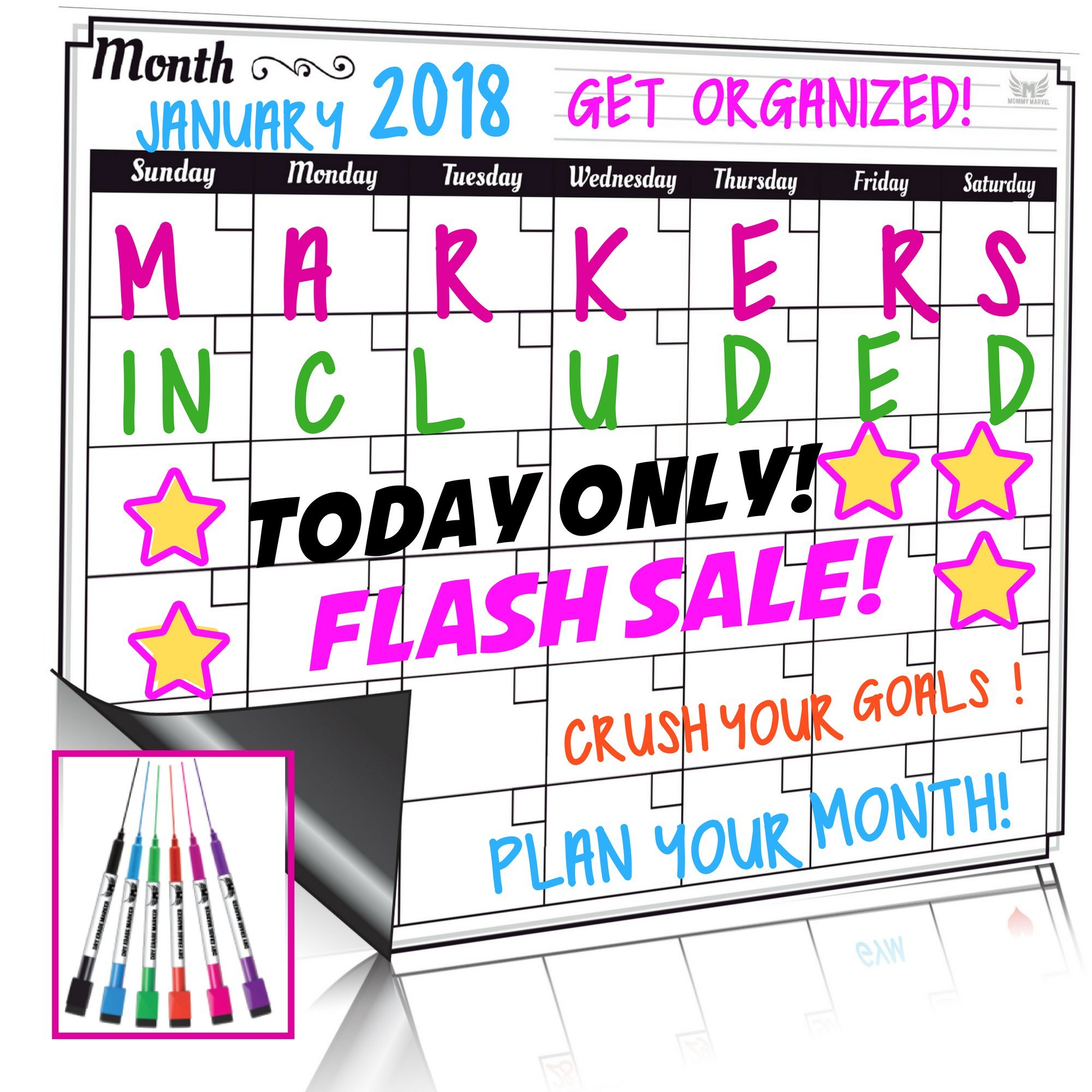 2000x2000 Dry Erase Monthly Calendar Set Large Magnetic White Board