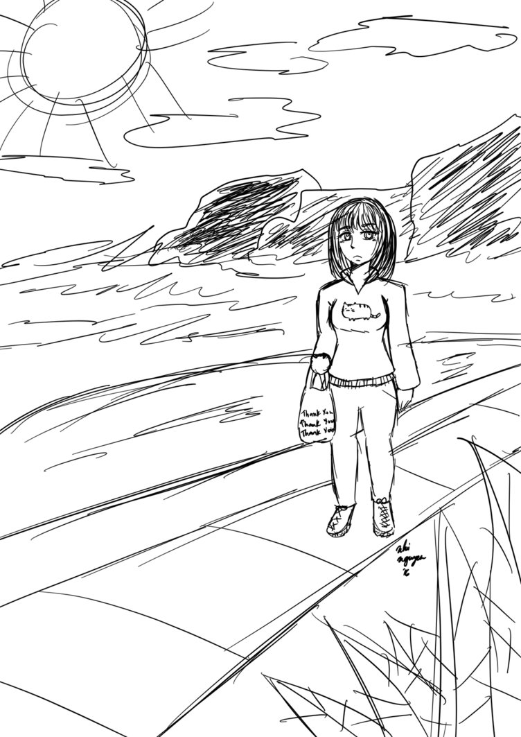 752x1063 Walking Home From The Grocery Store By Itsnhiii