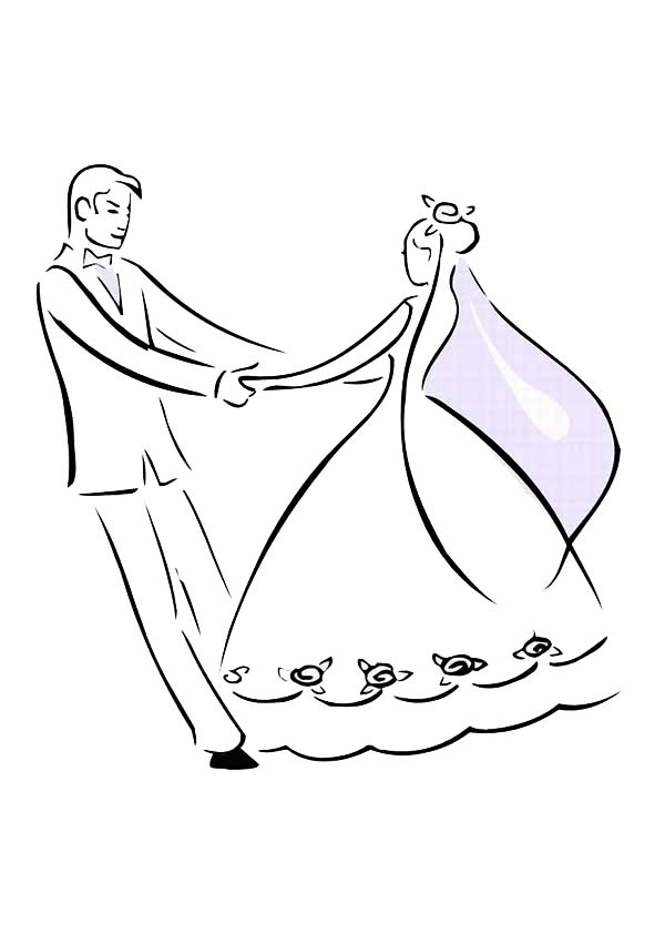 600x851 Bride And Groom Dance In Wedding Day Coloring Page Sun