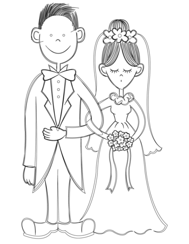 371x480 Bride And Groom Coloring Page Free Printable Coloring Pages