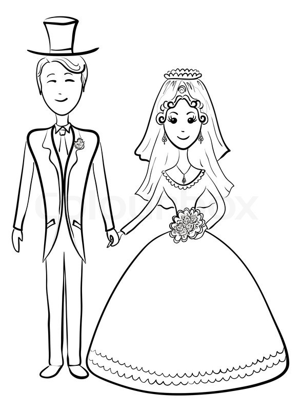 585x800 Cartoon, The Bride And Groom During The Wedding Ceremony, Contours