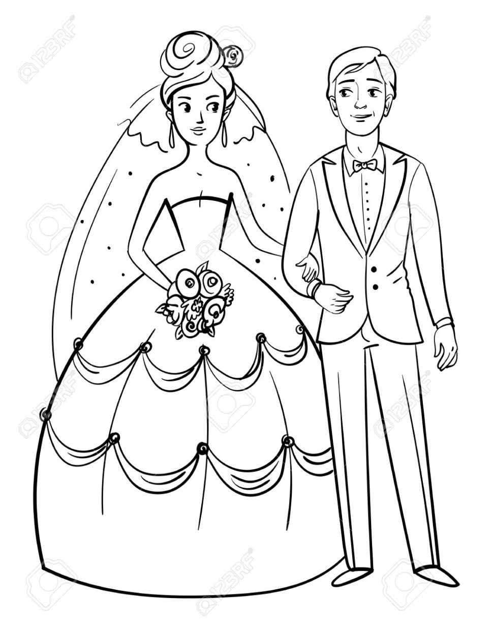 970x1237 Coloring Bride And Groom Front View Funny Cartoon Character