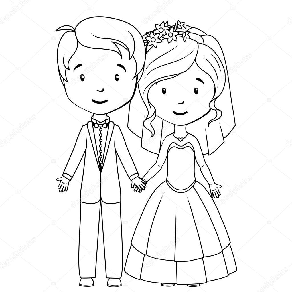 1024x1024 Coloring Book Cartoon Groom And Bride Stock Vector
