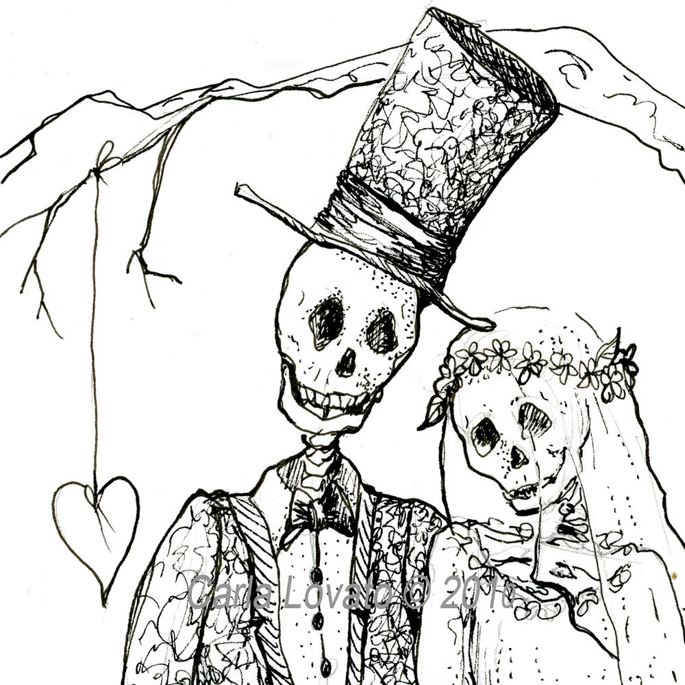 1000x1000 Day Of The Dead Drawing Skeleton Bride And Groom Giclee