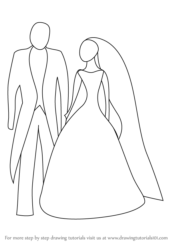 598x844 Learn How To Draw Bride And Groom For Kids (Famous People) Step By