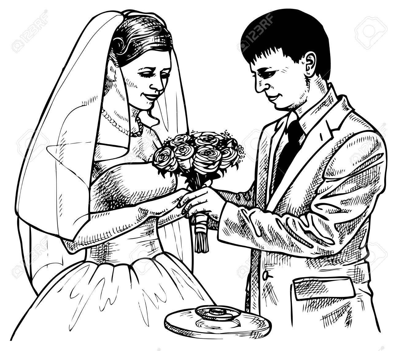 1300x1142 Picture Of The Bride And Groom Exchange Rings That. Drawing