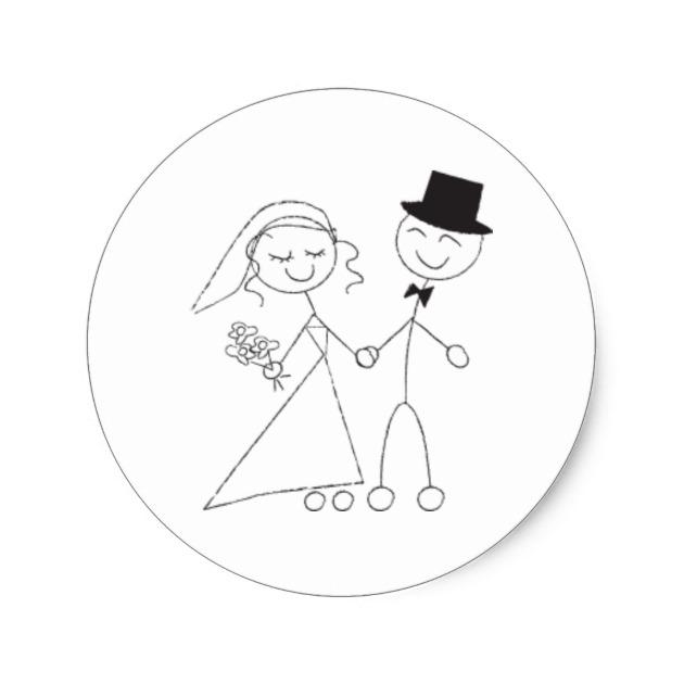 630x630 Stick Figure Bride Amp Groom Wedding Rsvp Invitation Classic Round