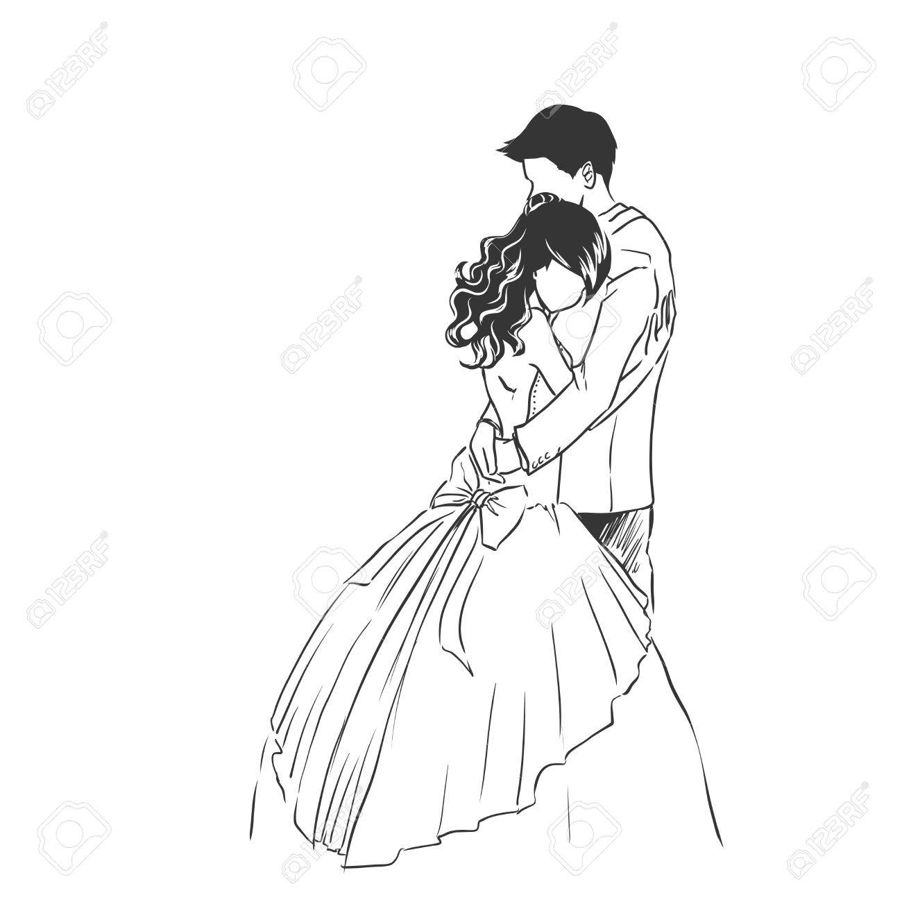 1300x1300 Art Sketch Of Young Bride And Handsome Groom. Wedding Invitation