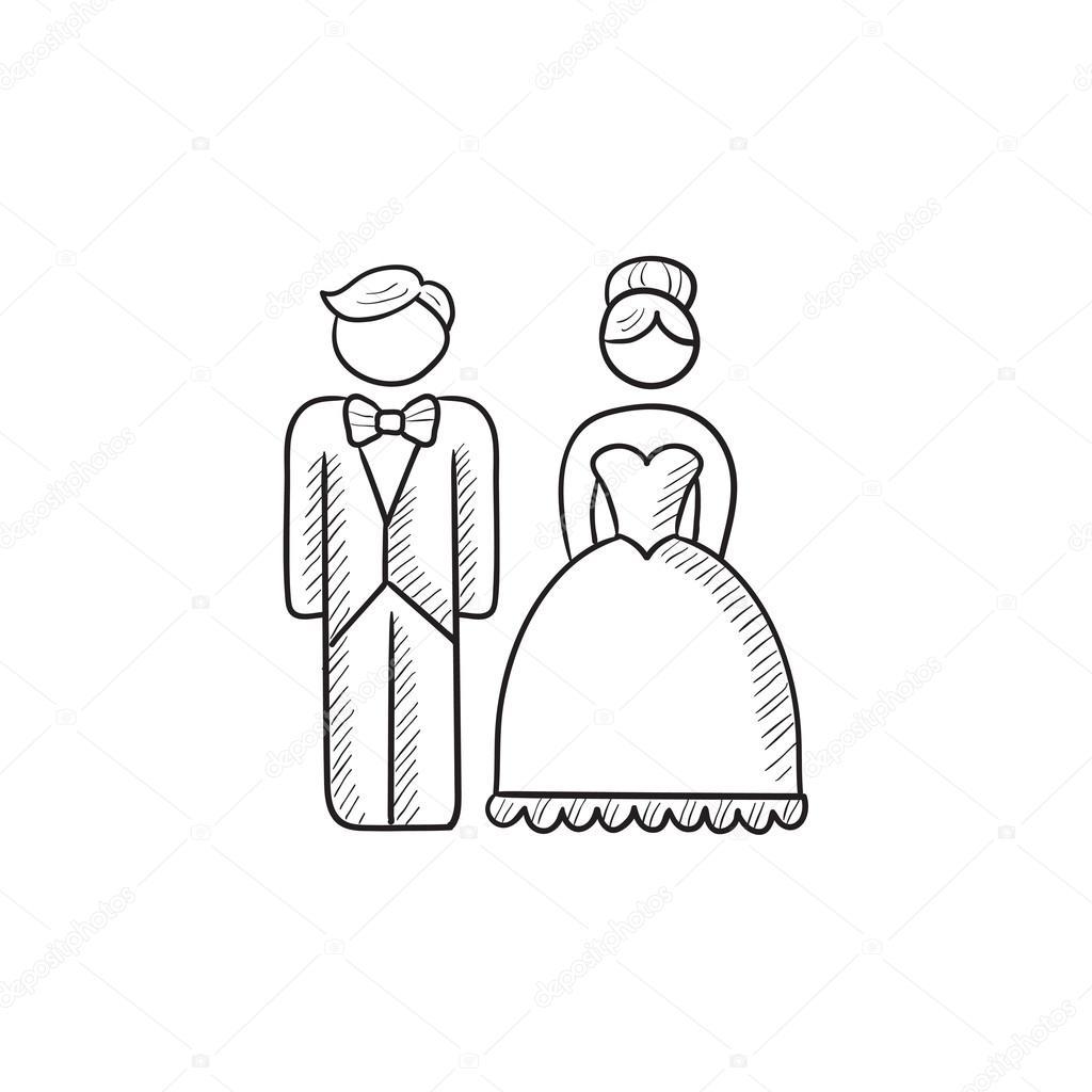 1024x1024 Bride And Groom Sketch Icon. Stock Vector Rastudio