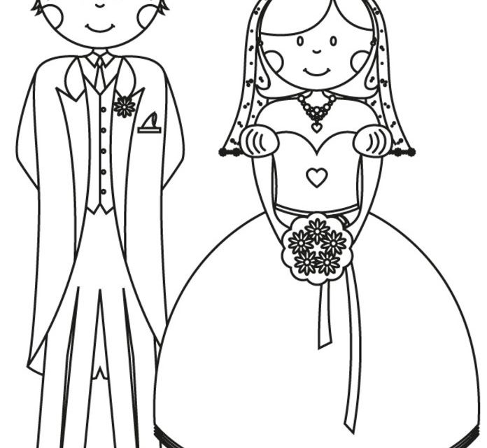 696x640 Coloring Pages Bride And Groom, Printable For Kids Amp Adults, Free