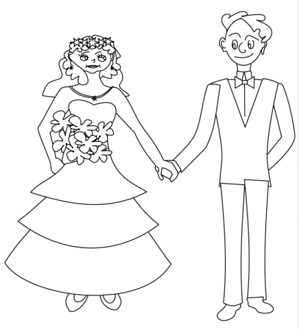 436x480 Happy Bride And Groom Coloring Page Free Printable Coloring Pages