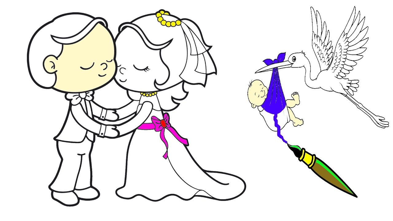 1280x720 Bride And Groom Baby Coloring Pages For Kids