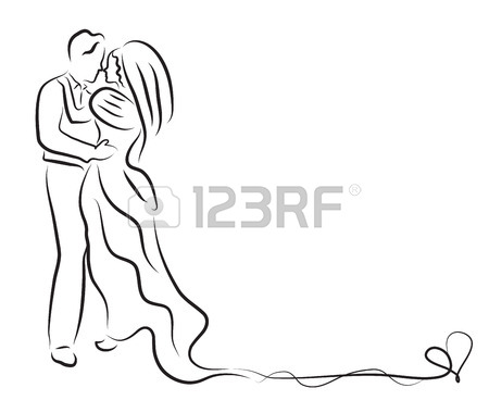450x380 Silhouette Of Bride And Groom, Newlyweds Sketch, Hand Drawing