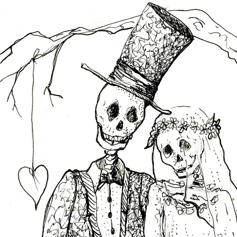 1000x1000 Skeleton Art, Day Of The Dead, October Wedding, Skeleton Bride