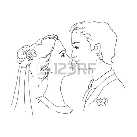 450x450 Sketch Of Bride And Groom Man And Woman Are Looking At Each