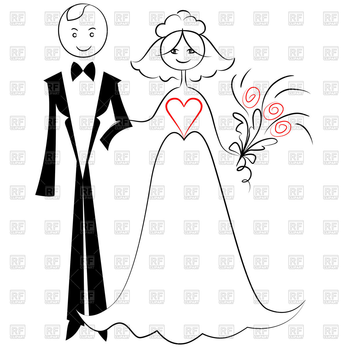 1200x1200 Sketch Of Bride And Groom Royalty Free Vector Clip Art Image