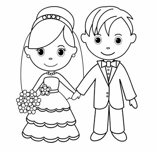 640x619 Top 14 Romantic And Charming Bride And Groom Coloring Pages
